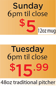 Tuesday 48oz special and Sunday 12oz special