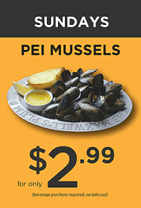 Delicious PEI Mussels only $2.99