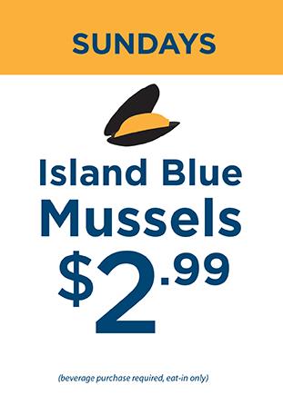 Sundays Blue Island Mussels $2.99